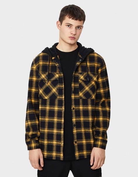 Куртка рубашечного кроя в клетку с капюшоном