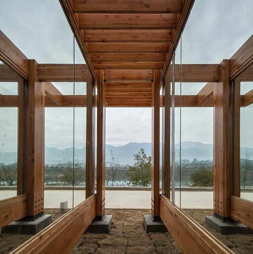 pine pavilion offers a poetic reading of resin production while overlooking the songyin river