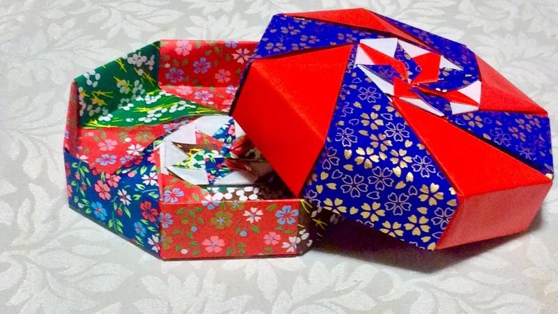 折り紙 八角箱 底 Origami octagonal dish
