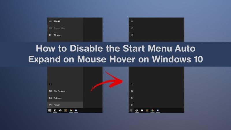 How to Disable Enable Start Menu Left Panel Auto Expand Mouse Hover on Windows 10