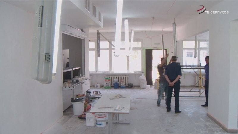 В школе №11 г.о. Серпухов ведутся ремонтные работы в помещениях и на кровле