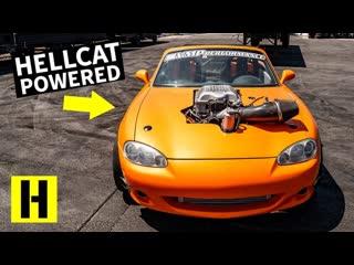 Mazda mx-5 miata с мотором от hellcat исполняет бёрнауты на 6-ой! [bmirussian]