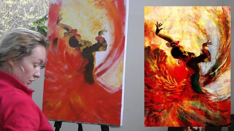 Урок живописи Танцовщица. Масло, кисти и мастихин, 1 часть