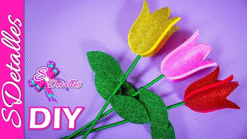 Tulipanes de Foami | Video 124 | SDetalles | DIY