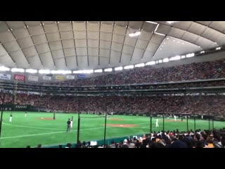 Wow winners air being played at a japanese baseball game for a professional baseball players appearance song