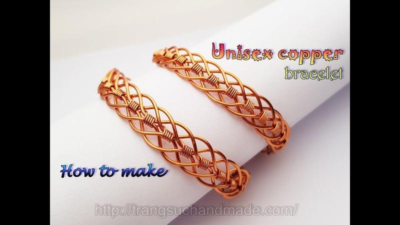 Unisex braided copper bracelet Handmade jewelry for men and women 416