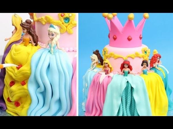 Adorable PRINCESS Cake with Cute Mini Disney Dolls by Cakes StepbyStep