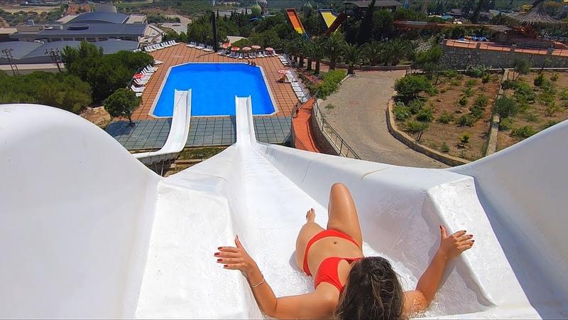 Water Slides at Adaland Aquapark in Kuşadası, Aydın, Türkiye