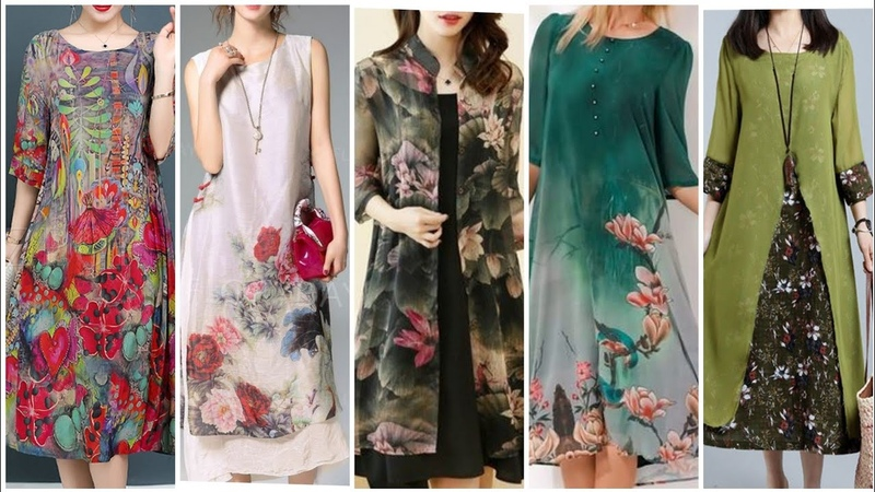 Very Attractive And Trendy Floral Chiffon Double Layer Sheath Dresses For Every Occasion 2020