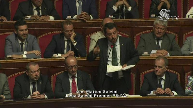 Crisi di governo l'intervento di Matteo Salvini in Senato integrale