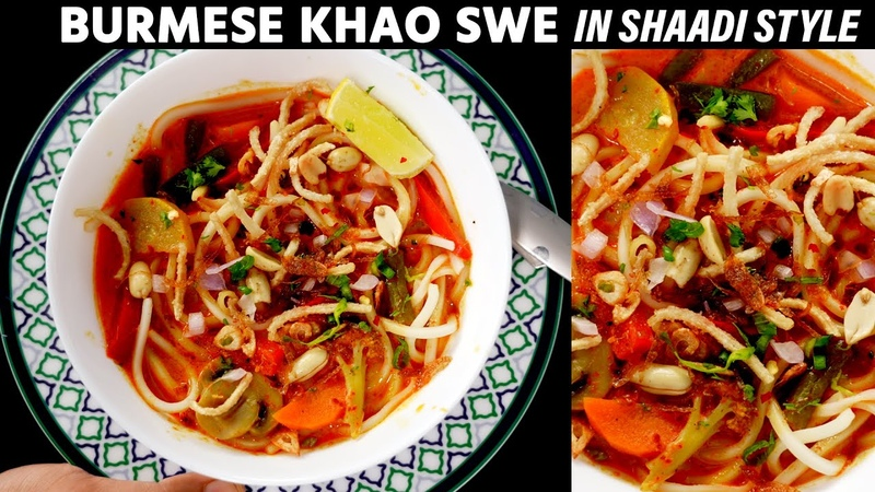 Khao Suey Recipe Veg Noodles Soup in Restaurant Shaadi Style CookingShooking Burmese Khow Swe