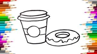 Как нарисовать ПОНЧИК С КОФЕ /  КОФЕ раскраска мультик для детей / Ай Мульт