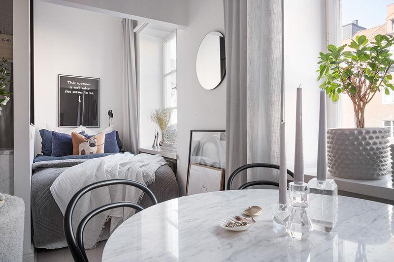 Мягкий и уютный интерьер девичьей квартиры в Стокгольме (35 кв.