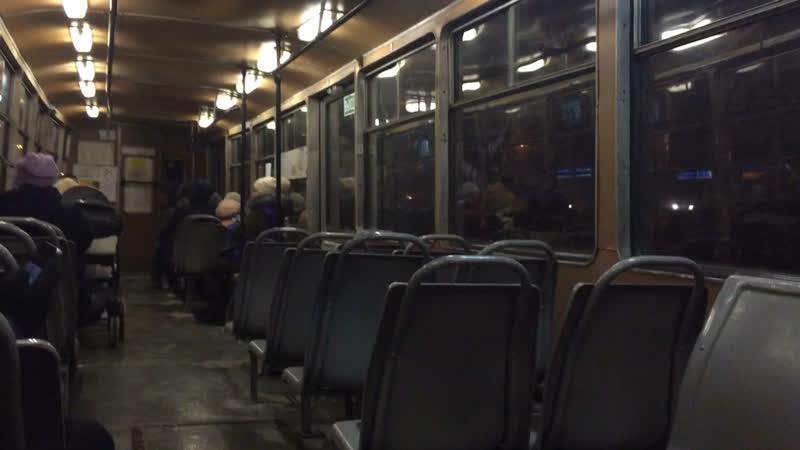 Вечерняя поездка на последнем трамвае КТМ-5 №121 в Коломне.