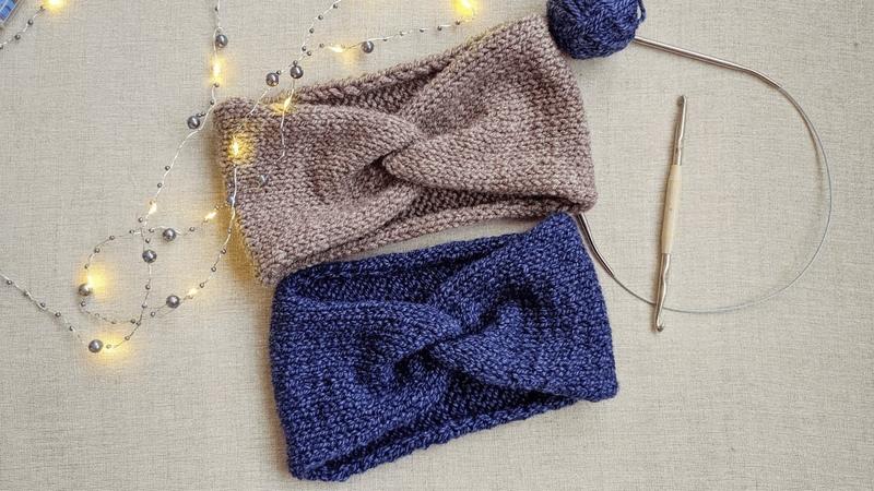 Модная повязка на голову спицами 2019 Простая вязаная повязка спицами