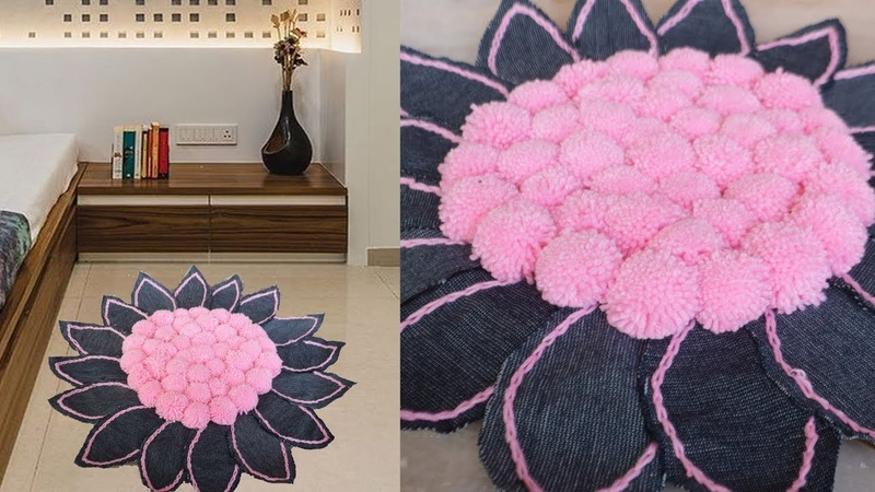 Easy and Fast Doormat Making at Home Using Old Jeans Jeans Craft Idea Handmade Doormat