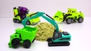 Transformers Excavator, truck, cranes Stop Motion - Tobot Police Cars Stuck in the jelly Car Wash