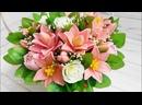 Букет из мыльных лилий и роз в корзине