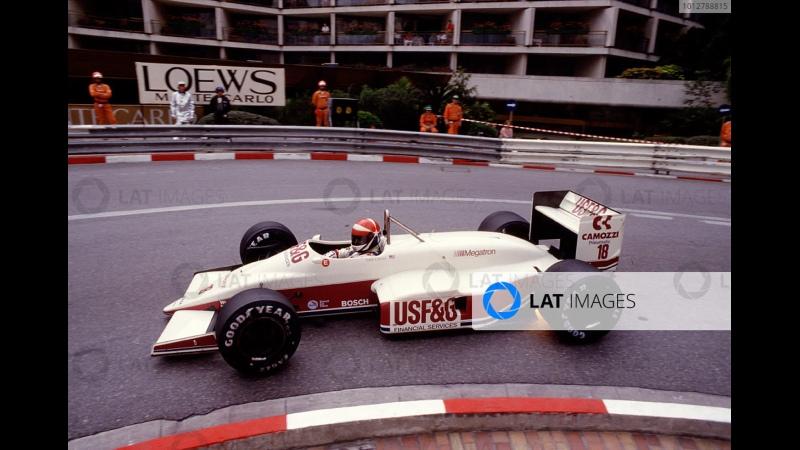 Monaco 1987 Alain Prost Fra Mclaren Porsche overtakes Eddie Cheever USA Arrows Megatron BMW