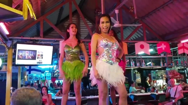 Pattaya 3 Ladyboys Dancing Tjs Music Bar Thailand