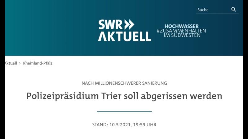 Polizeipräsidium Trier soll abgerissen werden 10 05 2021