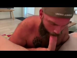 Handsome bearded daddy sucks my dick - pov