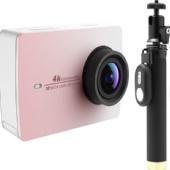 Экшн-камера+монопод с пультом Xiaomi Yi 4k Action Camera (Розовый)