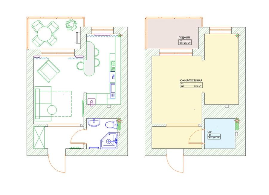 Проект квартиры 24 м (с лоджией – почти 29 м).