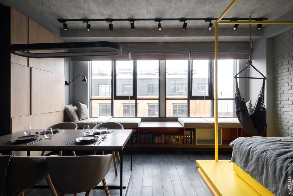 Реализованный интерьер студии 40,6 м в Москве.