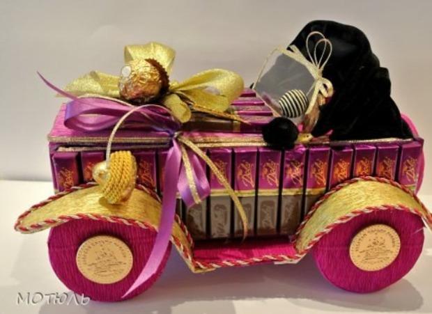 как сделать автомобиль из конфет своими руками пошаговый мастер-класс,