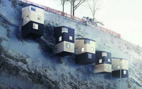 дом на скалах, дом скворечник, необычный дом, шведский дом