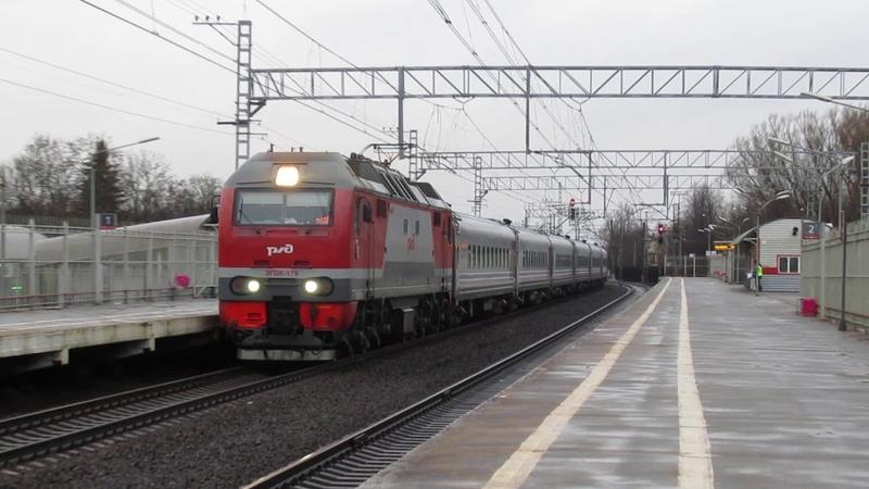 ЭП2К - 179 с поездом (007А) 7/8 «Таврия» Санкт-Петербург — Севастополь следует по станции Колпино.