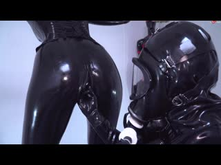 Latex catsuit girl and boy