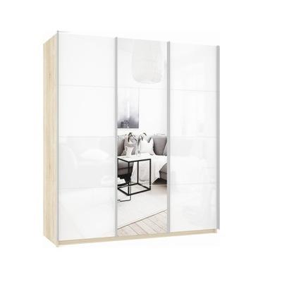 Шкаф Прайм 3-х  дверный (Белое стекло/Зеркало) ш 2100