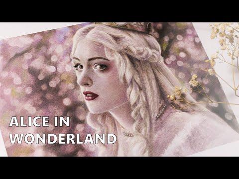 Рисую Белую королеву цветными карандашами Alice in Wonderland art