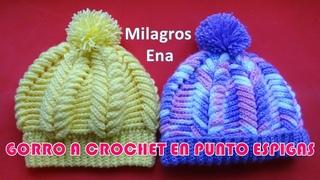 Gorro tejido a crochet o ganchillo en punto Espigas 3D paso a paso español