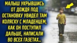 Малыш спрятавшись от дождя под остановку увидел там коляску, как он поступил дальше, написали…
